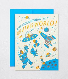 Hello Lucky Space Birthday – My Messy Room Birthday Greeting Cards, Happy Birthday Cards, Birthday Greetings, Happy Birthday In French, Birthday Kids, It's Your Birthday, Postcard Design, Illustrations, Cute Illustration