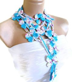 Flower Lariat Scarf, blue and white scarf with crochet flower patterns , hand-made,fashion,gift, mothers day,unique