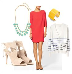 Styleboard : Spring! Shift Dress + Bootie heels + Striped Cardigan : PepperDesignBlog.com