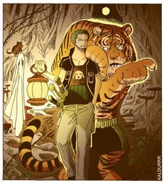 Tiger is showing Zoro the way :3