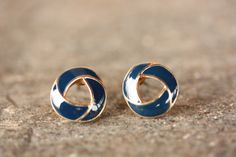 Sweet Navy Knot Studs from Diament Jewelry on SupermarketHQ