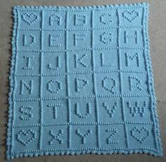 crocheted ABC blanket