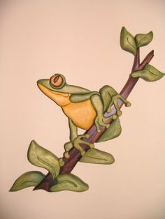 Frog painted intarsia