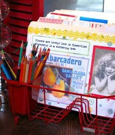 dish drainer as a file/mail sorter, pens go in the silverware caddy.