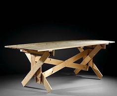 Enzo MARI (Né en 1932) Table E - création 1974 Pin naturel