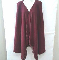 Fringed Sleeveless Shawl Long One Size Marvelush Layers by Lizden  #Marvelush #ShawlWrap #Any