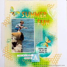 Layers of ink: Summer Fun Layout Tutorial by Anna-Karin Evaldsson. Made for the Simon Says Stamp Monday Challenge blog using stencils and Distress Ink by Tim Holtz / Ranger and Tim's Sizzix dies.