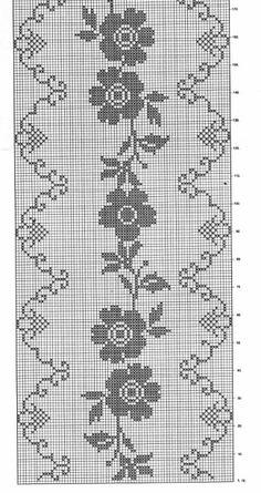 Crochet Tablecloth Pattern, Crochet Patterns, Brick Stitch, Filet Crochet, Cross Stitch Designs, Doilies, Cross Stitch Embroidery, Rugs, Runners