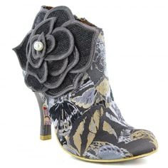 Irregular Choice Pearl Necture 3615-9A Womens Ankle Boots - Black/Grey