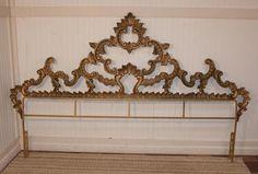 antique hollywood regency headboard   ... Vintage Gold IRON Rococo Style Hollywood Regency King Size Headboard