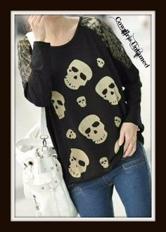 SUPER CUTE Beige Skull Black Lace Shoulder Cotton Long Sleeve OVERSIZED Top on CLEARANCE!! CLick the link to see COWGIRLS UNTAMED CLEARANCE ITEMS on EBAY! #Ebay #Save #clearance #sale #deal #discount #auction #onlineshopping #boutique #fashion #clothing #cowgirl #western #skull #top #shirt #lace #beautiful