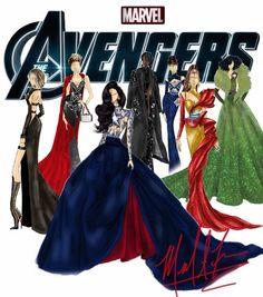 Avengers in a fashion show Fashion Design Drawings, Fashion Sketches, Marvel Art, Marvel Comics, Marvel Universe, Marvel Dress, Marvel Fashion, Marvel Costumes, Fandom Fashion