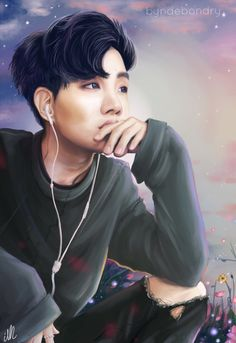 "byndebondry: "" J-hope Listen to my heartbeat, it calls you whenever it wants to. twitter deviantart "" <--- absolutely beautiful Jhope fan art. He looks simply ethereal with that wistful look in his eyes. Listening to BTS's Wishing on a Star and I feel like it fits this art perfectly :)"
