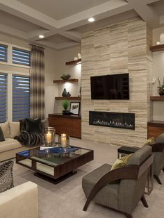 Fantastic Contemporary Living Room Designs | Interior stone walls ...