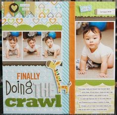 Scrapbook & Cards Today: Finally Doing The Crawl LauraVegas_SCT_SpringIssue_DoingTheCrawl Baby Boy Scrapbook, Baby Scrapbook Pages, Birthday Scrapbook, Scrapbook Cards, Kids Scrapbook Ideas, Girl Birthday Cards, Birthday Crafts, Birthday Ideas, Baby Boy Pictures