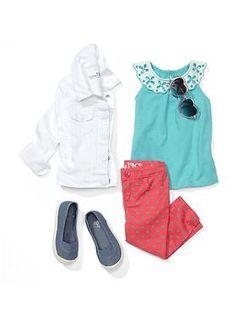 'pack a picnic'   gap    white denim jacket \ circle cyclet tank \ coloured dot skimmer jeans \ slip-on cap toe sneakers