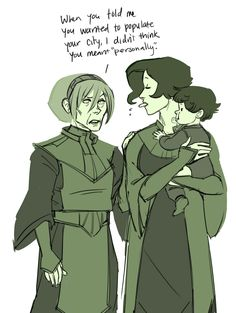 "Toph and Su by makanidotdot.tumblr.com (""all of su's kids are like the same age wtf"")"