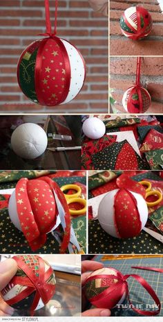 Christmas Ornament Tutorial - Pattern - DIY - No Sew - Drapes Quilted Christmas Ornaments, Crochet Christmas Decorations, Country Christmas Decorations, Easy Christmas Crafts, Christmas Fabric, Diy Christmas Ornaments, Felt Christmas, Homemade Christmas, Christmas Projects