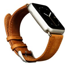 Apple Watch Band,Jisoncase Genuine Leather Strap Wristband With Free Adapters for Apple Watch/ Sport/ Edition 38mm- iWatch Replacement Band with Metal Clasp in Brown, JS-AW3-05A20