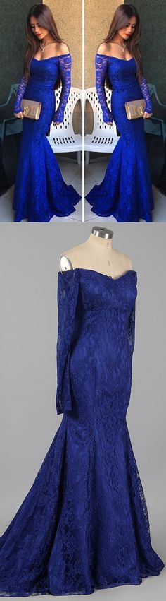 Royal Blue Prom Dresses Long, Lace Formal Dresses Long Sleeve, Hot Mermaid Evening Party Dresses Off-the-shoulder Modest