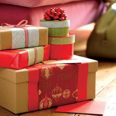 Don't let your Christmas wrapping paper go to waste by adding a colourful twist to your presents with paper panels