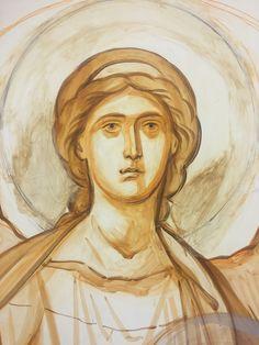 Arcangelo Gabriele, disegno di Kiko Arguello. Byzantine Icons, Byzantine Art, Religious Icons, Religious Art, Arte Do Galo, Monastery Icons, Paint Icon, Angel Drawing, Catholic Art