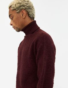 Howlin' Men's Sylvester Turtleneck Sweater in Bordeaux, Size Extra Large Red Turtleneck, Stussy, Turtlenecks, Bordeaux, Men Sweater, Wool, Medium, Sweaters, Products