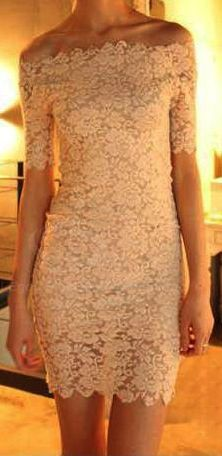 Lace dress. I like the off-the-shoulder