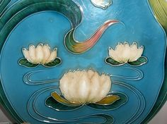 "Vintage ZELL German Art Nouveau MAJOLICA Plate Charger 11.75"" WATER LILY  #ZELL"