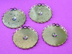 8 Large Vintage Brass Settings  35 mm Brass by ThisPurplePoppy, $4.00