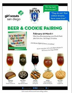 Pairing Girl Scout cookies with beer (Mike Hess Brewing) Girl Scout Cookie Meme, Girl Scout Cookie Sales, Brownie Girl Scouts, Beer Cookies, Gs Cookies, Scout Mom, Daisy Girl Scouts, Girl Scout Leader, Girl Scout Troop