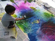 "Spray liquid watercolour onto spongy, fabric-like art paper ("",)"