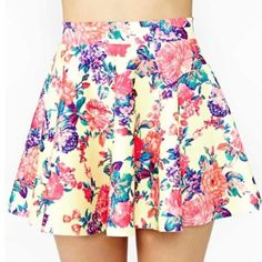 """Spotted while shopping on Poshmark: """"HP 6/5Nasty Gal Floral Yellow Skater Skirt """"! #poshmark #fashion #shopping #style #Nasty Gal #Dresses & Skirts"""