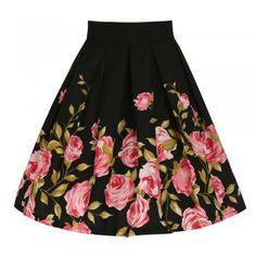 'Tippi' Pink Rose Swing Skirt | Vintage Style Skirts - Lindy Bop