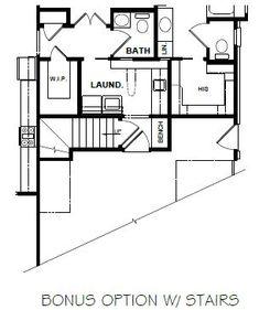 AMBLER BONUS FLOOR OPTION WITH STAIRS Cottage House Plans, Dream House Plans, Cottage Homes, House Floor Plans, Cottage Ideas, Stairs Floor Plan, Flooring For Stairs, Floor Design, House Design