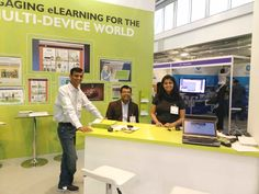 (L-R) Abhijit Kadle, Amit Garg and Rupali Dhawale at Upside Learning's stand at LT16UK