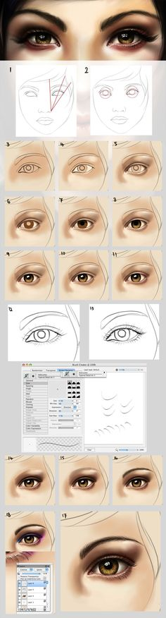 [link] My last eye painting tutorial is pretty old and I& been getting e-mails about adding more detail to it. There& like, a billion eye painting tuts out there, but I just wrote one . Digital Art Tutorial, Digital Painting Tutorials, Art Tutorials, Drawing Tutorials, Digital Paintings, Oil Paintings, Drawing Tips, Drawing Reference, Drawing Ideas