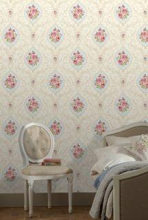 by  England's Finest  'Chelsea Damask' by England's Finest is a delightful floral damask, with very pretty colours & detailing  click here if you wish to order samples  paste the paper  pattern repeat 20 in roll 20.5 in wide, 33 ft long coverage 56 sq. ft.
