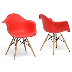 Pascal Red Plastic Mid-Century Modern Shell Chair - Set of 2  #HSN #HouseBeautiful