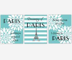 Paris Wall Art Teal Blue Turquoise White Flower Burst Dahlia Mums Eifel  Tower Girl Bedroom Wall