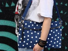 Denim Polka Dots Bag 1 by Nudakillers on Etsy