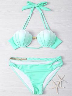 Halter Gradient Color Hollow Out Women's Bikini Set