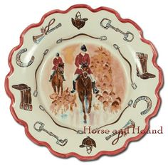 High fired porcelain hand-painted and decorated with red-coated riders and hounds in center. The unique scalloped shape is edged in red and embellished with images of horseshoes, helmets, boots, bits and bridle bits. Tableware for everyday use. Equestrian Decor, Equestrian Style, Christmas Wall Hangings, Horse Artwork, Cute Horses, Country Chic, Country Estate, Opening Day, French Country Decorating