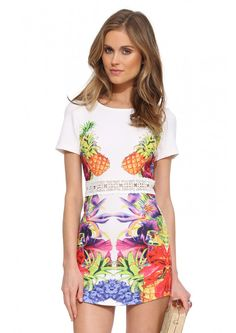 Hawaiian Print A-line Dress in Ivory | Necessary Clothing