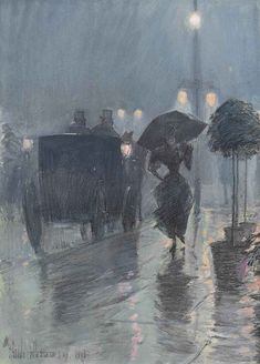 Frederick Childe Hassam, Evening in the Rain, NYC, 1893