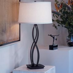 "Hubbardton Forge Almost Infinity 18.3"" Table Lamp Finish: Black, Shade Color: Doeskin Micro-suede, Shade Type: Empire"