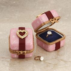Limoges pink ring box