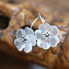 Crystal Flower Dangle Earrings Sterling Silver 3d Crystal, Crystal Flower, Sterling Silver Earrings Studs, Dangle Earrings, Free Coloring, Earrings Handmade, Antique Silver, Dangles, Easter