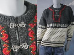 European Vintage Black /& Red Angora Blend Pullover Jumper with Sequin Floral Pattern on Front 1980s Sweater 20 UK Size 16 US