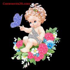 Cute Baby Sitting On Flowers